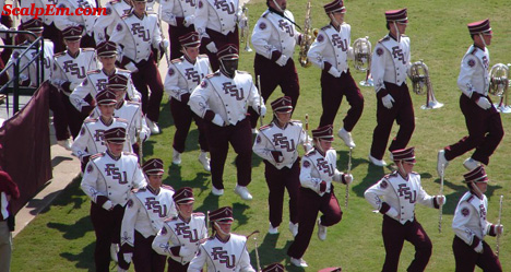 The Marching Chiefs entering Doak Campbell Stadium